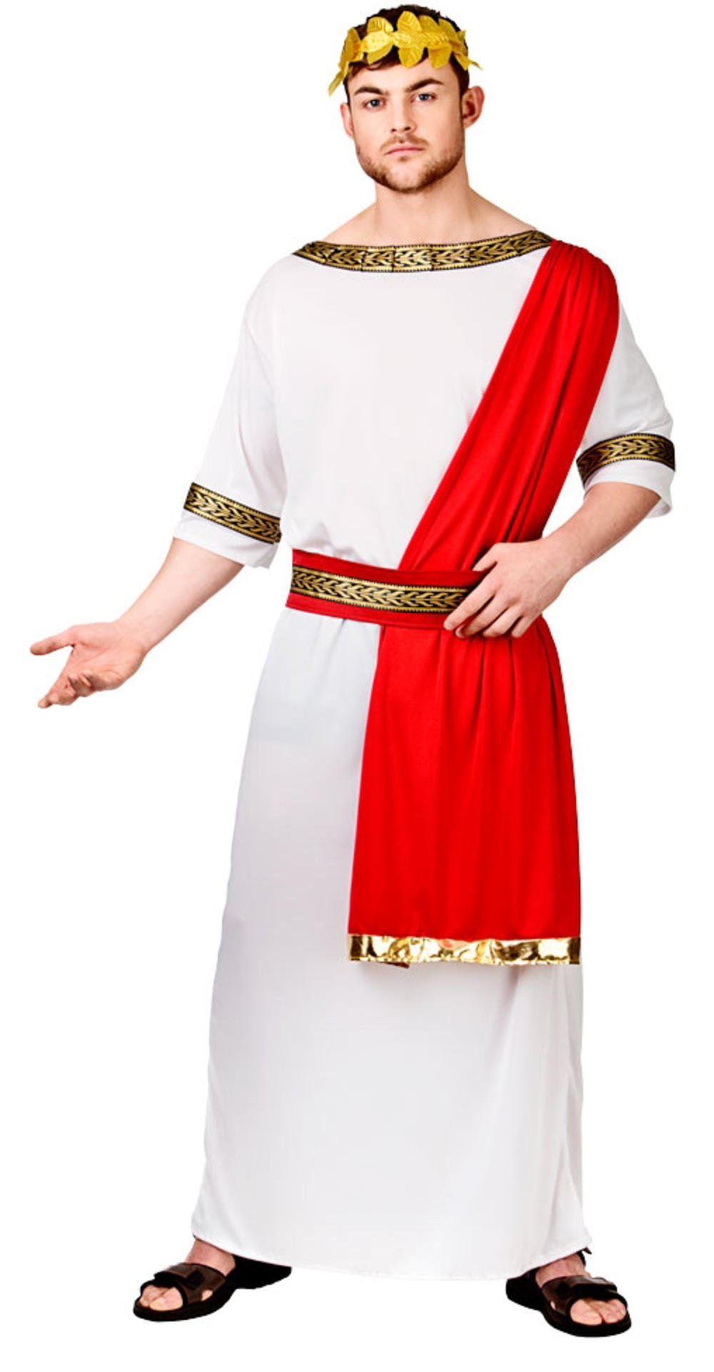 Roman Emperor Toga Mens Fancy Dress Grecian Historical Adults Costume Outfit New