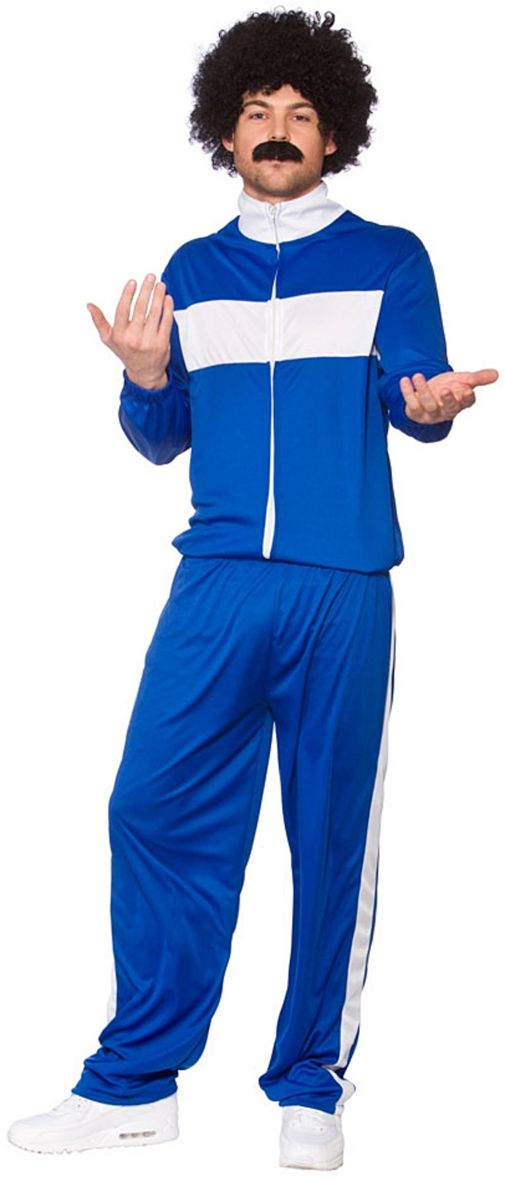 80s Retro Trackie Mens Fancy Dress 1980s Scouser Tracksuit Adults Costume Outfit