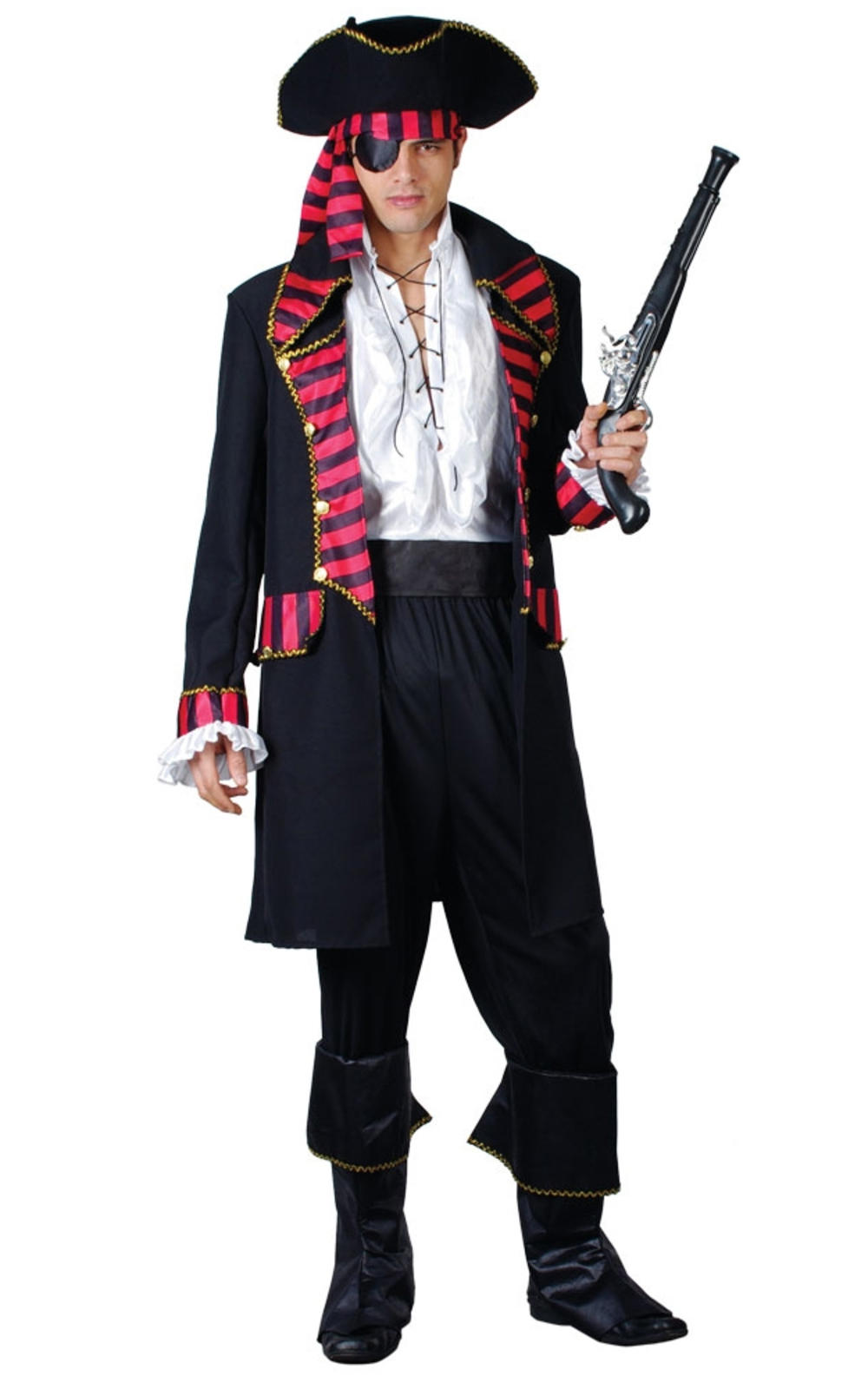 Deluxe Pirate Captain Mens Fancy Dress Buccaneer Caribbean Adults Costume Outfit
