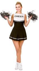 Black & White Cheerleader Ladies Fancy Dress High School Sport Adults Costume