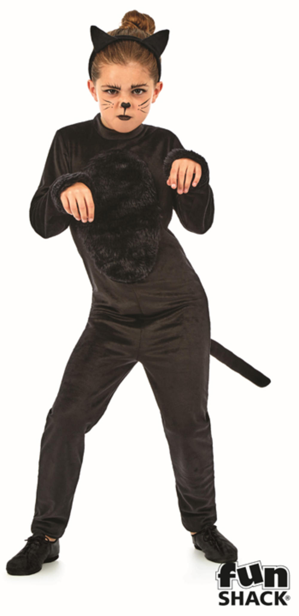 Black Cat Girls Fancy Dress Witches Kitty Kids Animal Halloween Costume Outfit