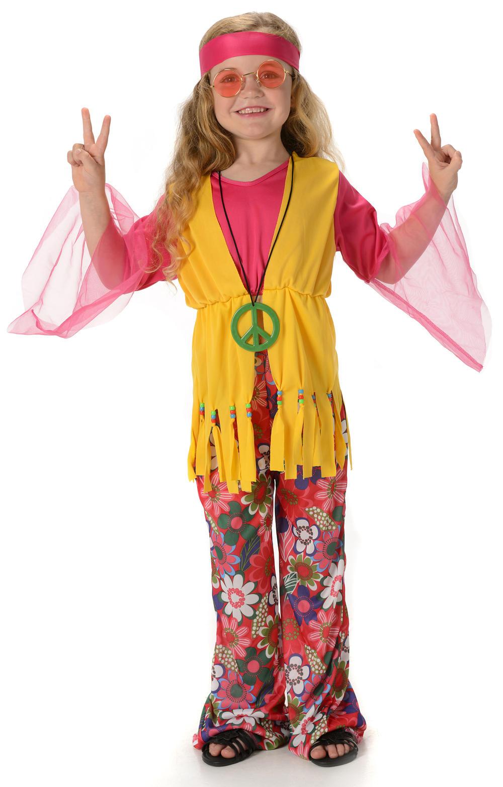 Peace Hippie Girls Fancy Dress 1960s 70s Hippy Childrens Kids Childs Costume New