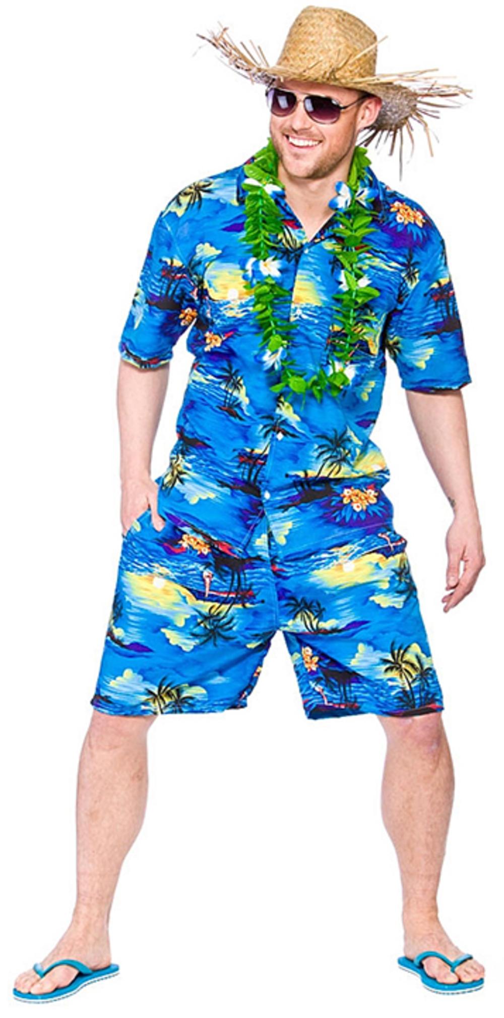 Hawaiian Blue Palm Mens Fancy Dress Beach Party Tropical Adults Hawaii Costume