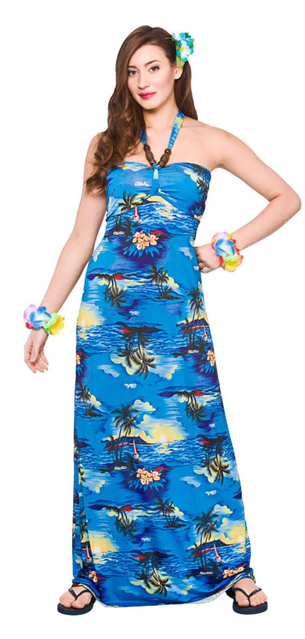 Hawaiian Maxi Blue Palm Ladies Fancy Dress Tropical Adults Womens Costume Outfit