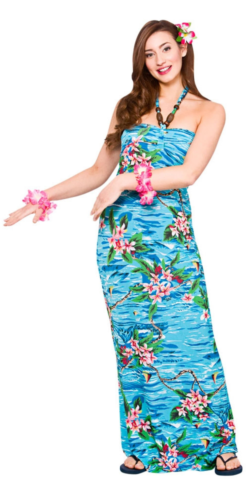 Hawaiian Maxi Orchid Ocean Ladies Fancy Dress Tropical Women Beach Adult Costume