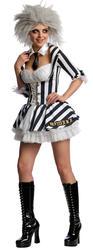 Beetle Juice + Wig Ladies Fancy Dress Halloween Sexy Beetlejuice Costume Outfit