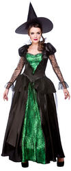 Emerald Witch + Hat Ladies Fancy Dress Long Witches Womens Halloween Costume