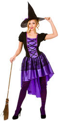 Glamorous Witch Ladies Halloween Fancy Dress Adults Womens Witches Costume New