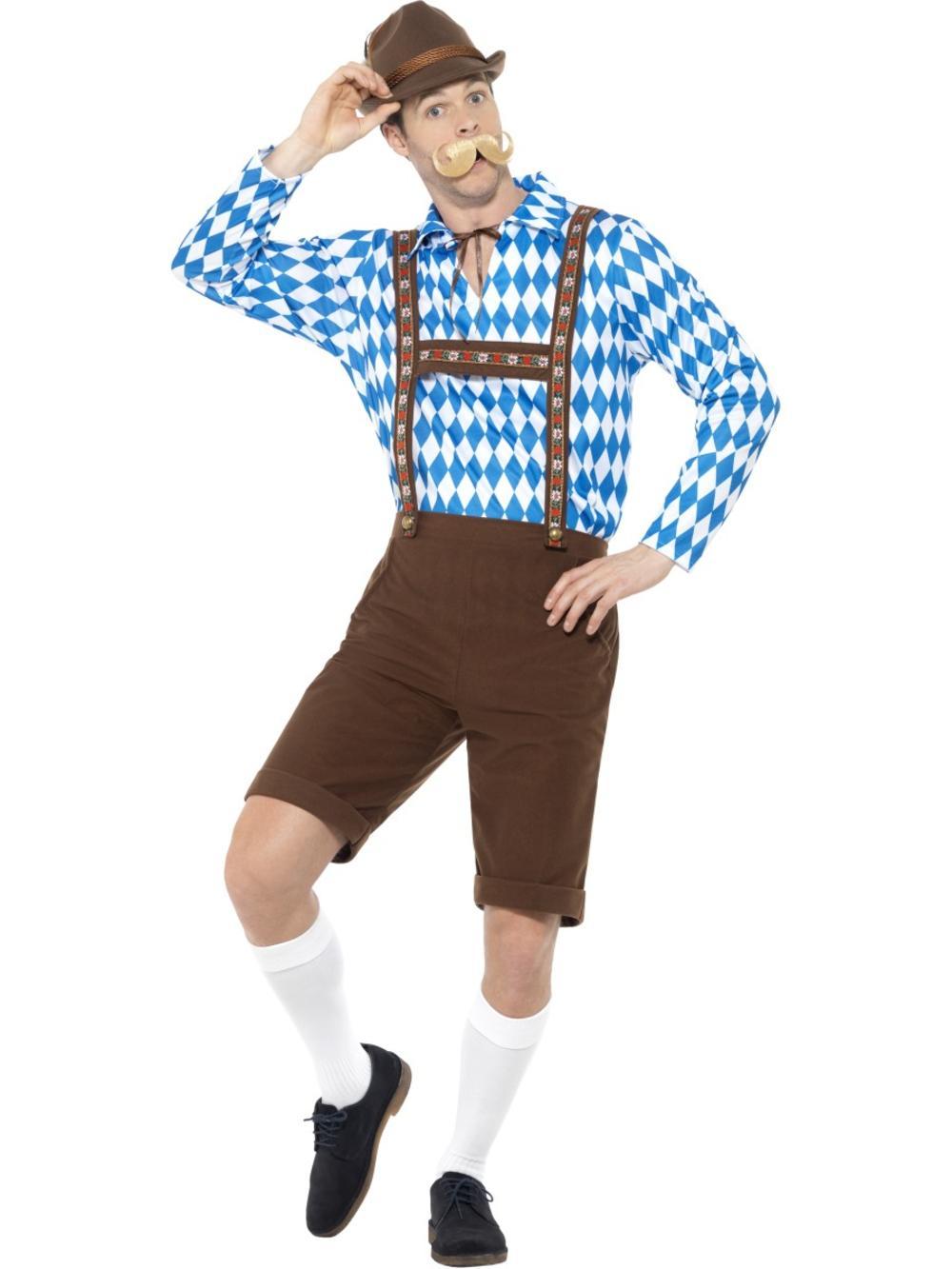 Bavarian Beer Man Mens Fancy Dress Oktoberfest Lederhosen German Adults Costume