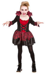 Little Vampire Girls Fancy Dress Halloween Scary Kids Childrens Costume Outfit