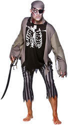 Zombie Skeleton Pirate Mens Halloween Fancy Dress Horror Adult Costume Outfit