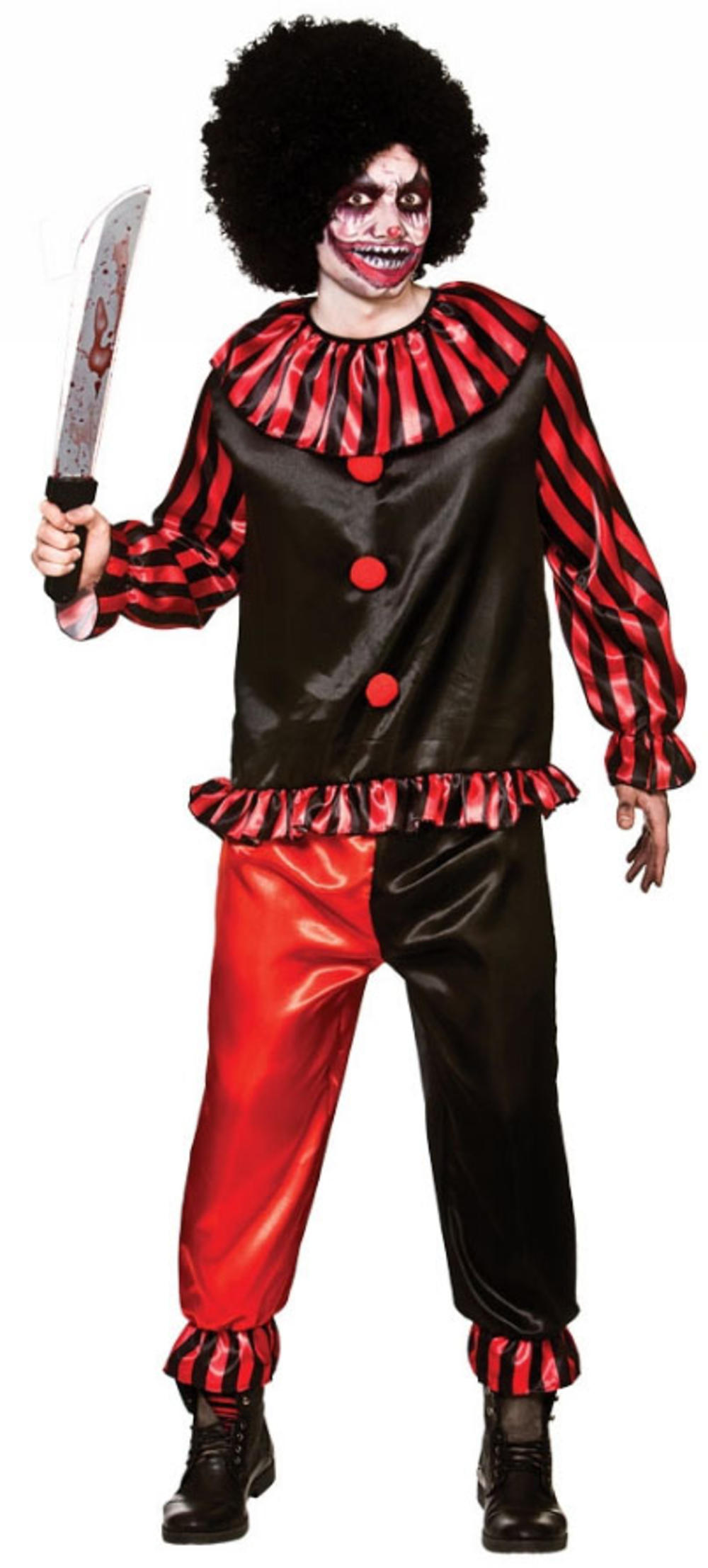 Deadly Clown Mens Fancy Dress Circus Horror Adults Halloween Costume Outfit