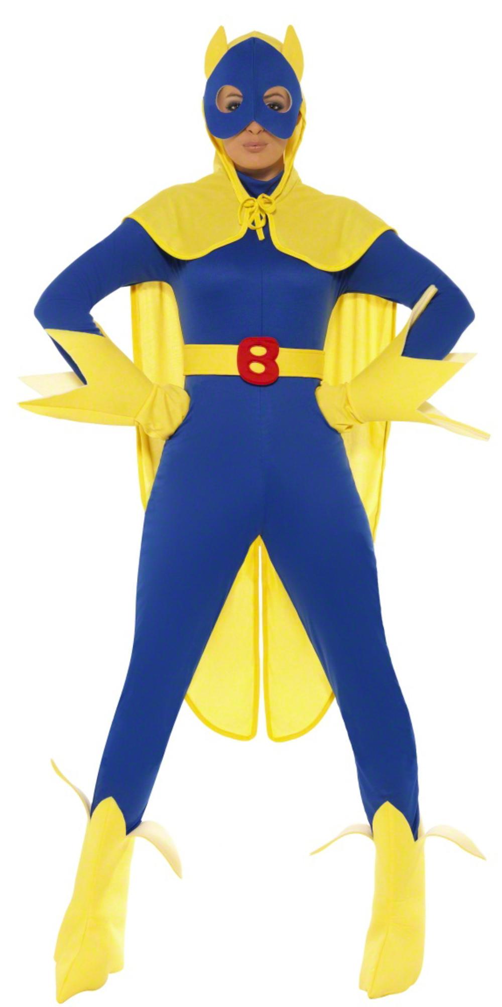 Bananawoman Ladies Comic Superhero Fancy Dress Female Bananaman Costume UK 8-14