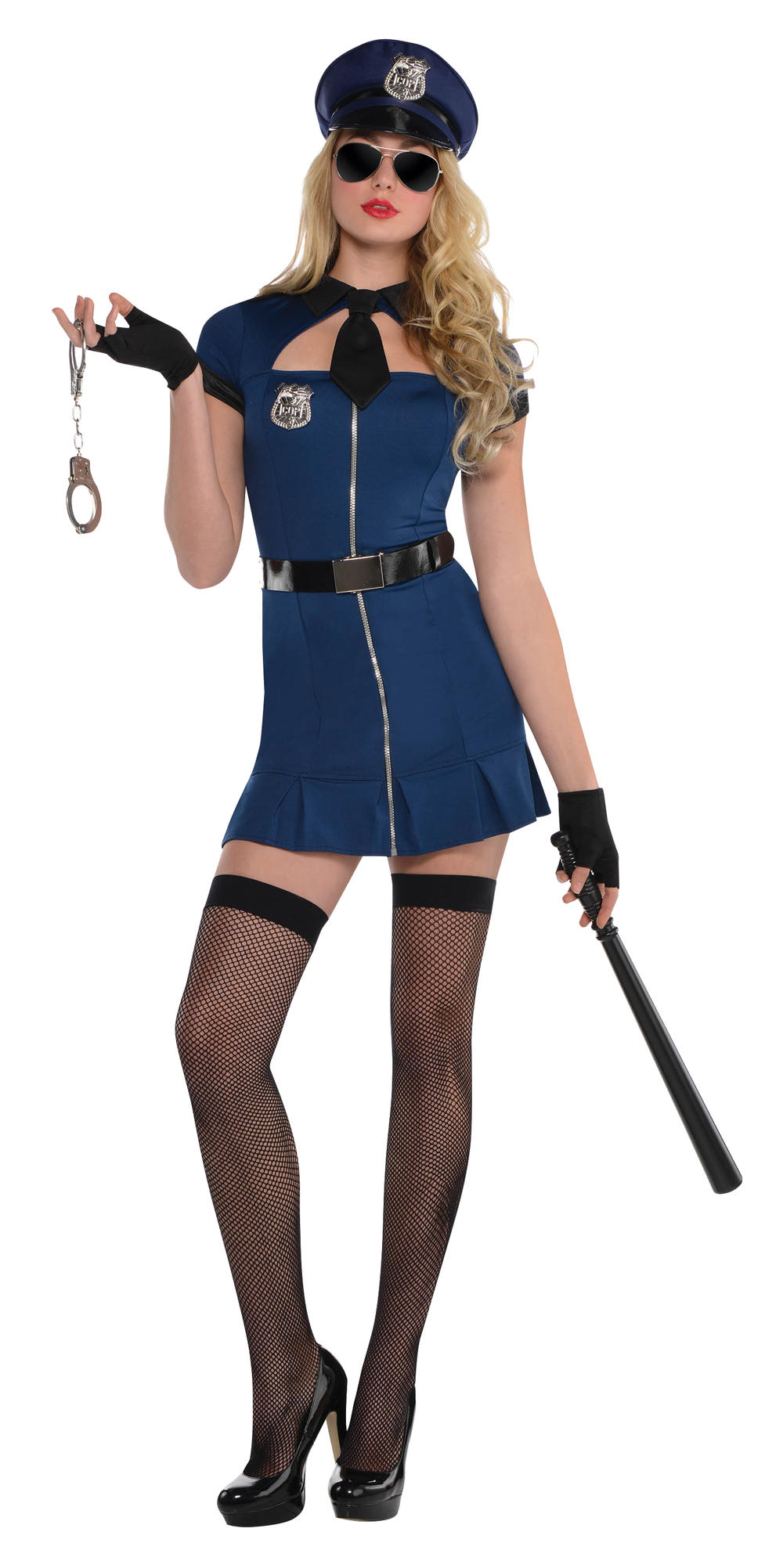 Bad Cop Ladies Fancy Dress Sexy Police Woman Uniform Adults Costume Outfit + Hat