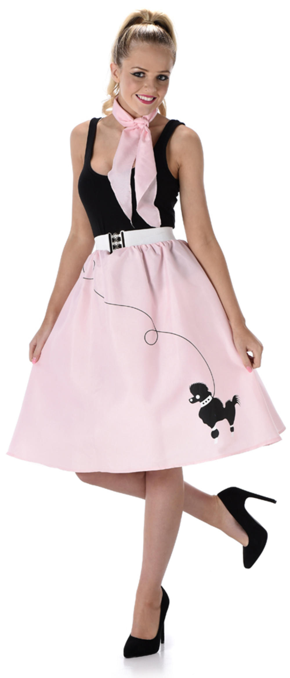 Baby Pink Poodle Skirt Ladies Fancy Dress 50s 60s Rock & Roll Womens Costume New