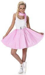 Baby Pink Polka Dot Skirt Ladies Fancy Dress 50s Rock Roll Womens Adult Costume
