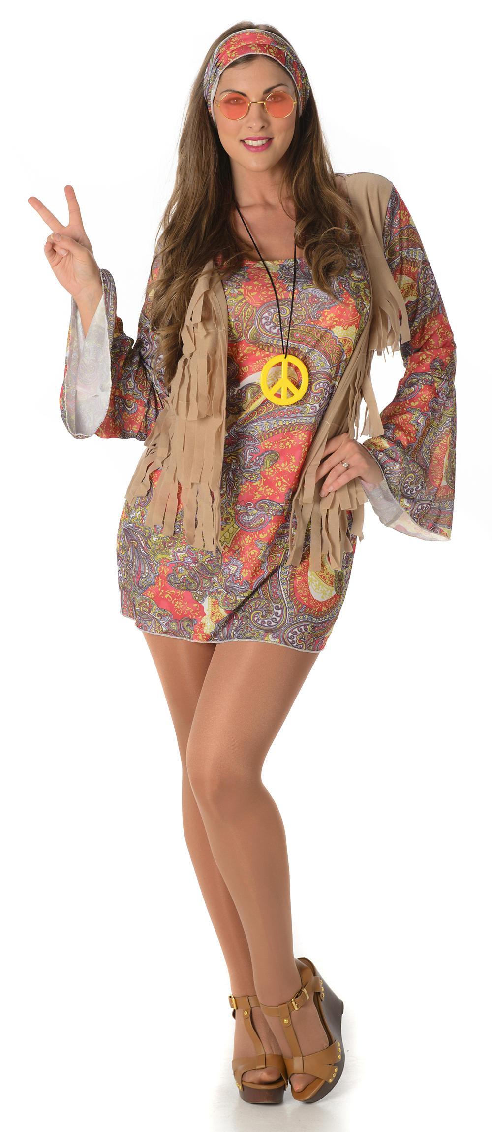 Groovy Hippie Ladies Fancy Dress 1960s 70s Sixties Womens Adults Hippy Costume