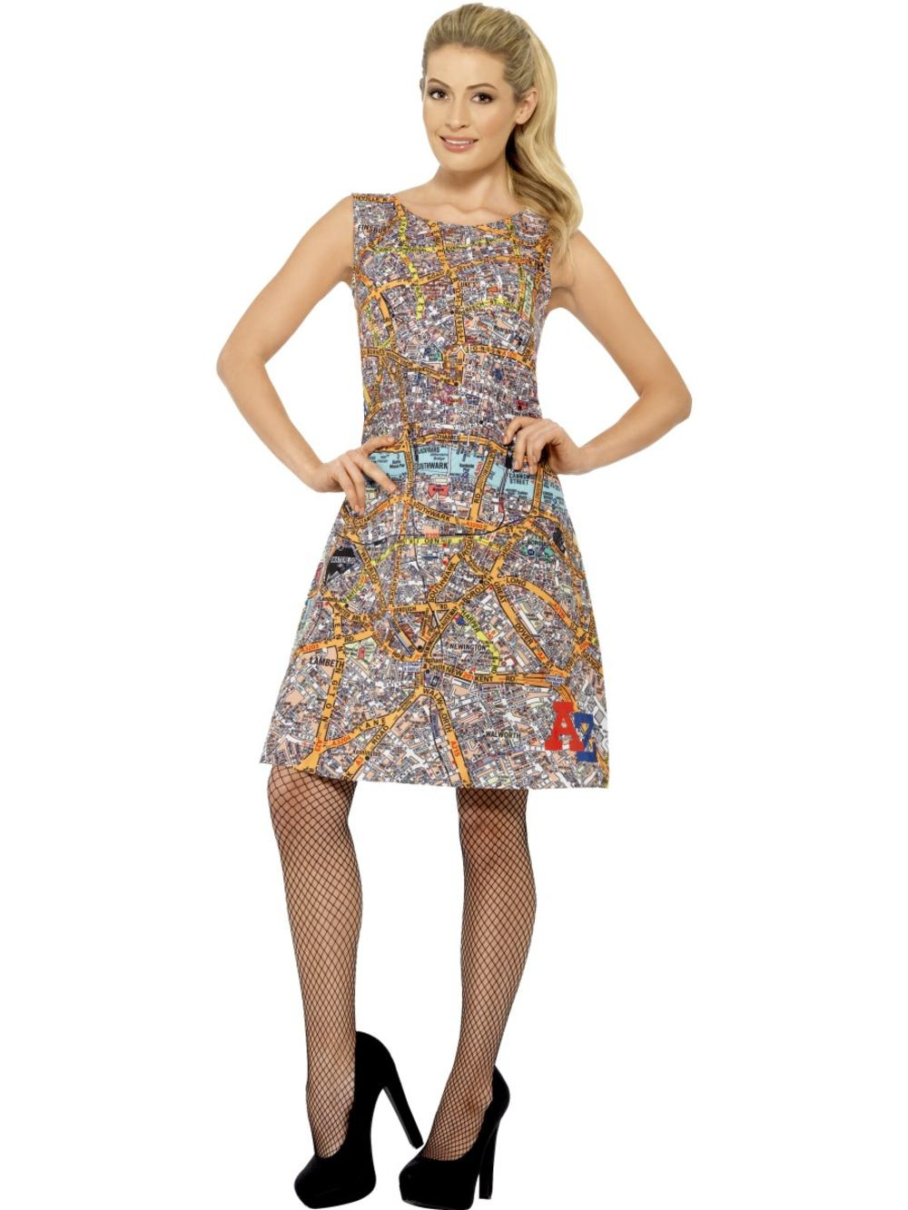 A-Z Ladies Fancy Dress AA Atlas London British Adults Womens Costume Outfit