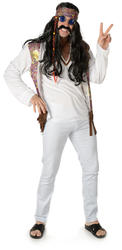 Funky Hippie Mens Fancy Dress Groovy Peace 1960s 70s Adults Hippy Costume Outfit