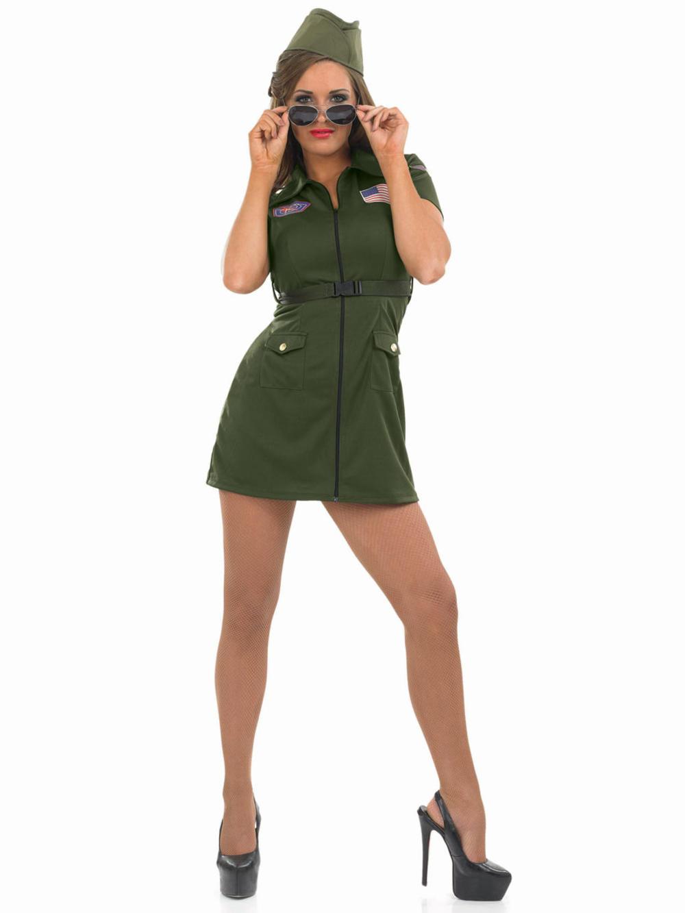 Pilot Girl Costume + Hat 80s Air Force Uniform Womens Military Fancy Dress New