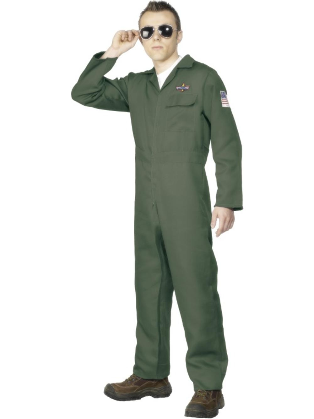 Army Pilot Mens Fancy Dress Military Air Force Uniform Adults Costume Outfit