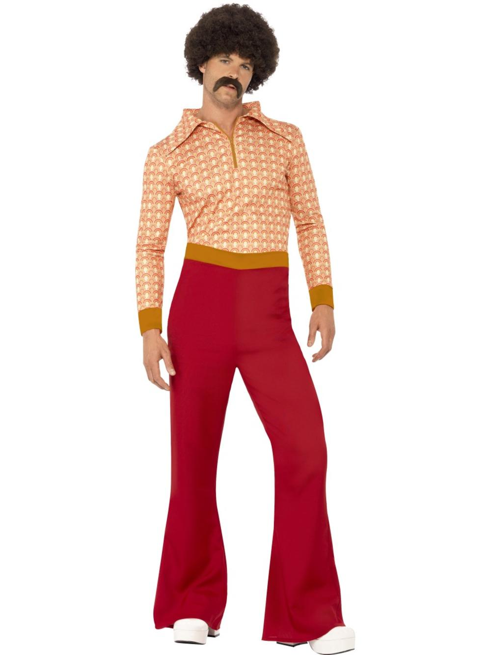 Authentic 70s Guy Mens Fancy Dress Peace Hippie Hippy 1970s Adult Costume Outfit