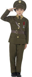 Army Officer Boys Fancy Dress Up Military Uniform Soldier Kids 30s 1940s Costume