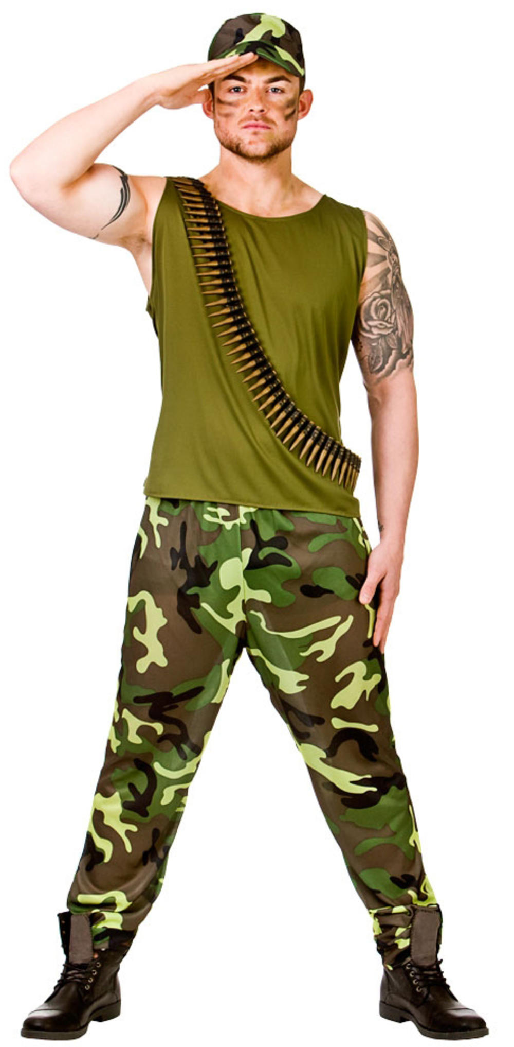 Army Soldier Mens Fancy Dress Military Camouflage Uniform Adults Costume Outfit