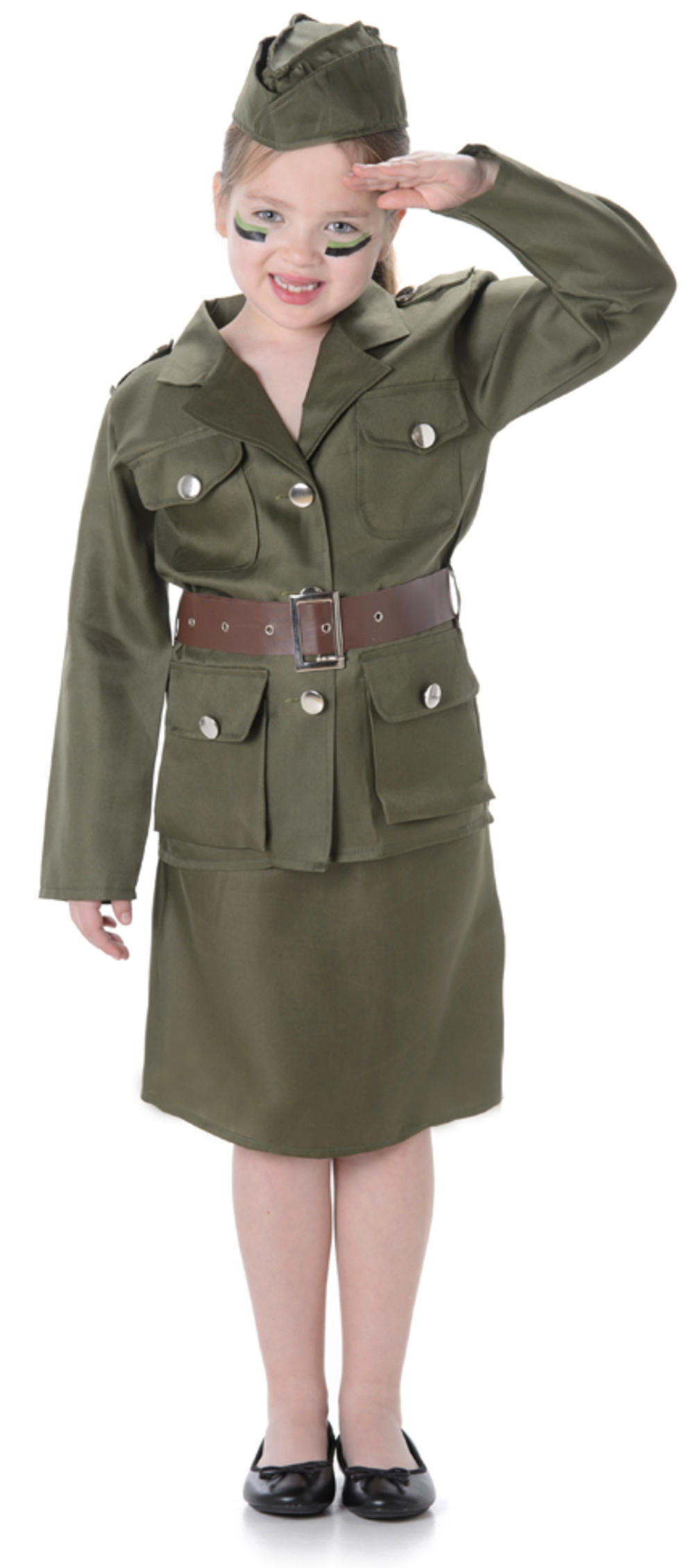 Army Girls Military 1930s 1940s Soldier Uniform Book Day Childrens Kids Costume