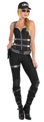 SWAT Officer Ladies Fancy Dress FBI Secret Agent Police Womens Adult Costume New
