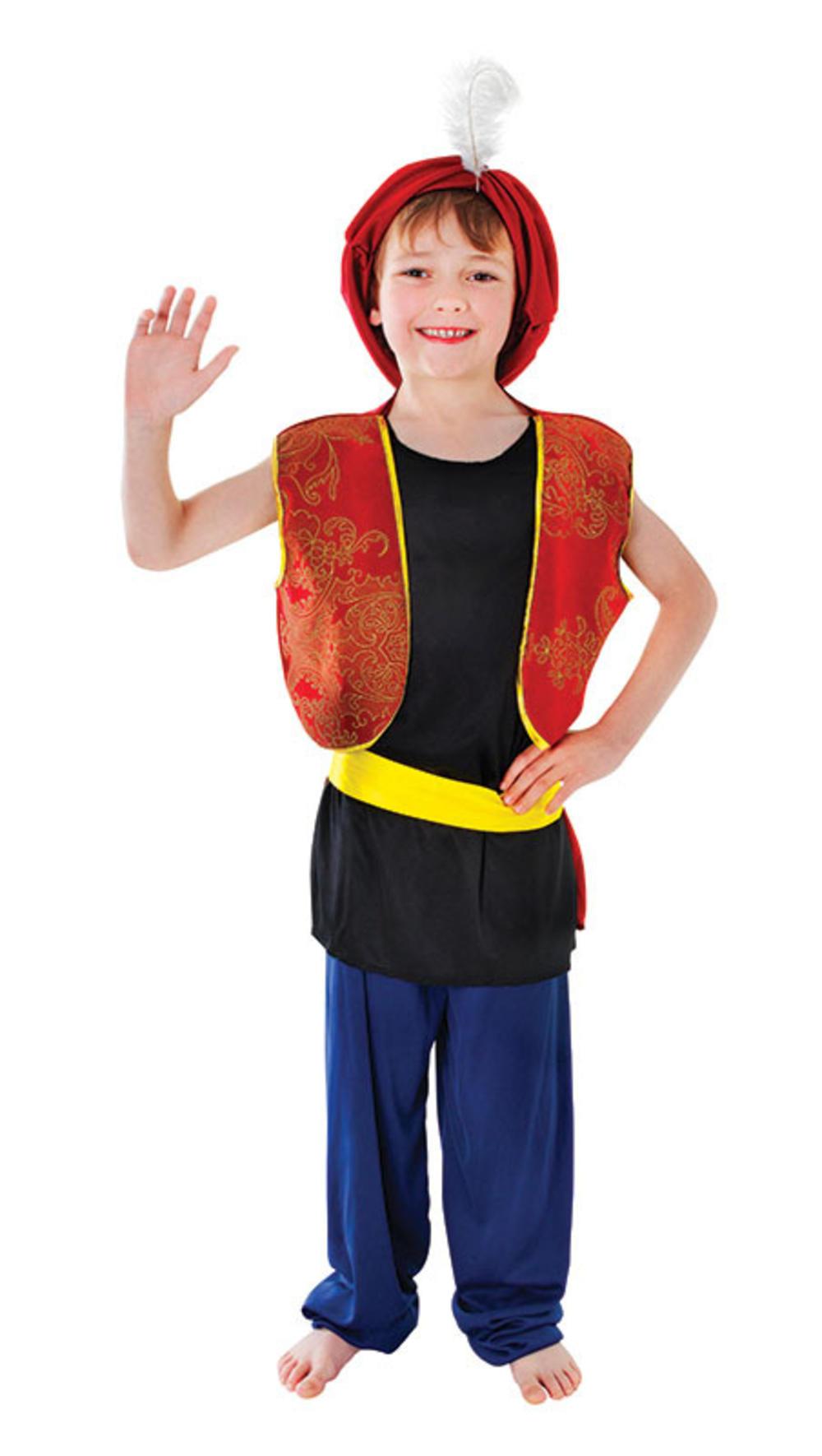 Boys Arabian Boy Fancy Dress World Book Day Aladdin Costume Outfit + Hat 4-12 Y