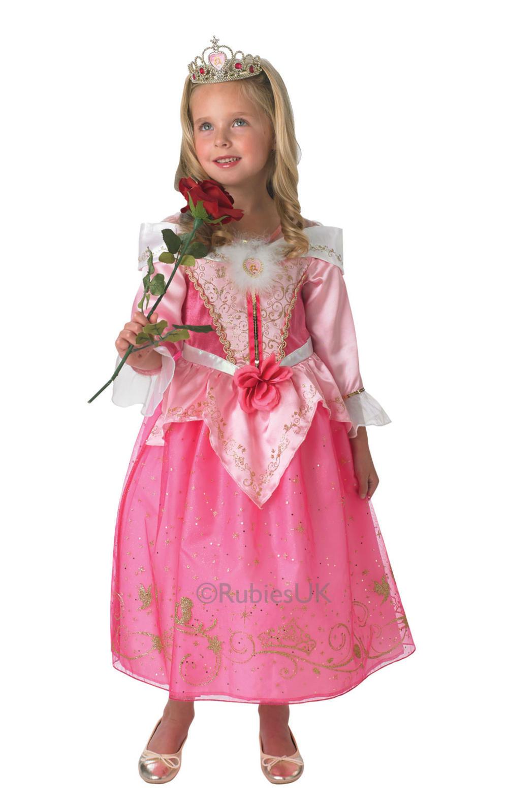 Sleeping Beauty Girls Fancy Dress Disney Princess Aurora Kids Fairy Tale Costume
