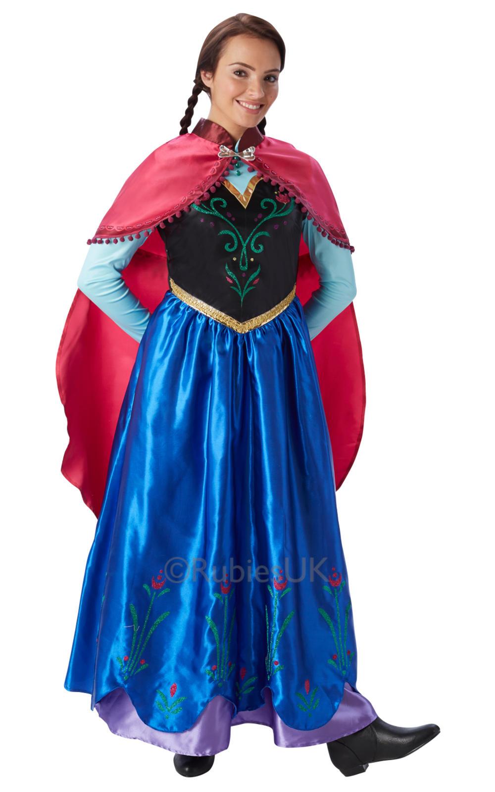 Princess Anna Ladies Fancy Dress Disney Frozen Fever Womens Adult Costume Outfit