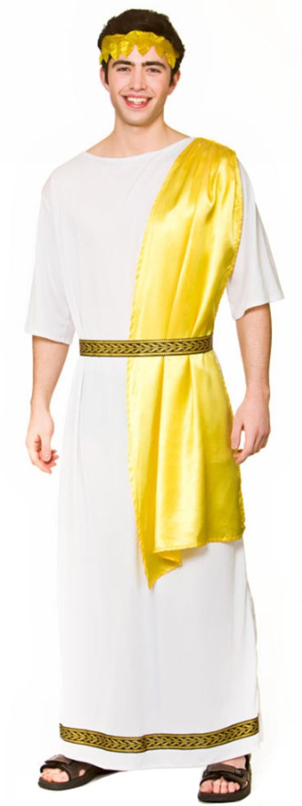 Ancient Greek Mens Fancy Dress Roman Empreror Toga Caesar Adults Costume Outfit