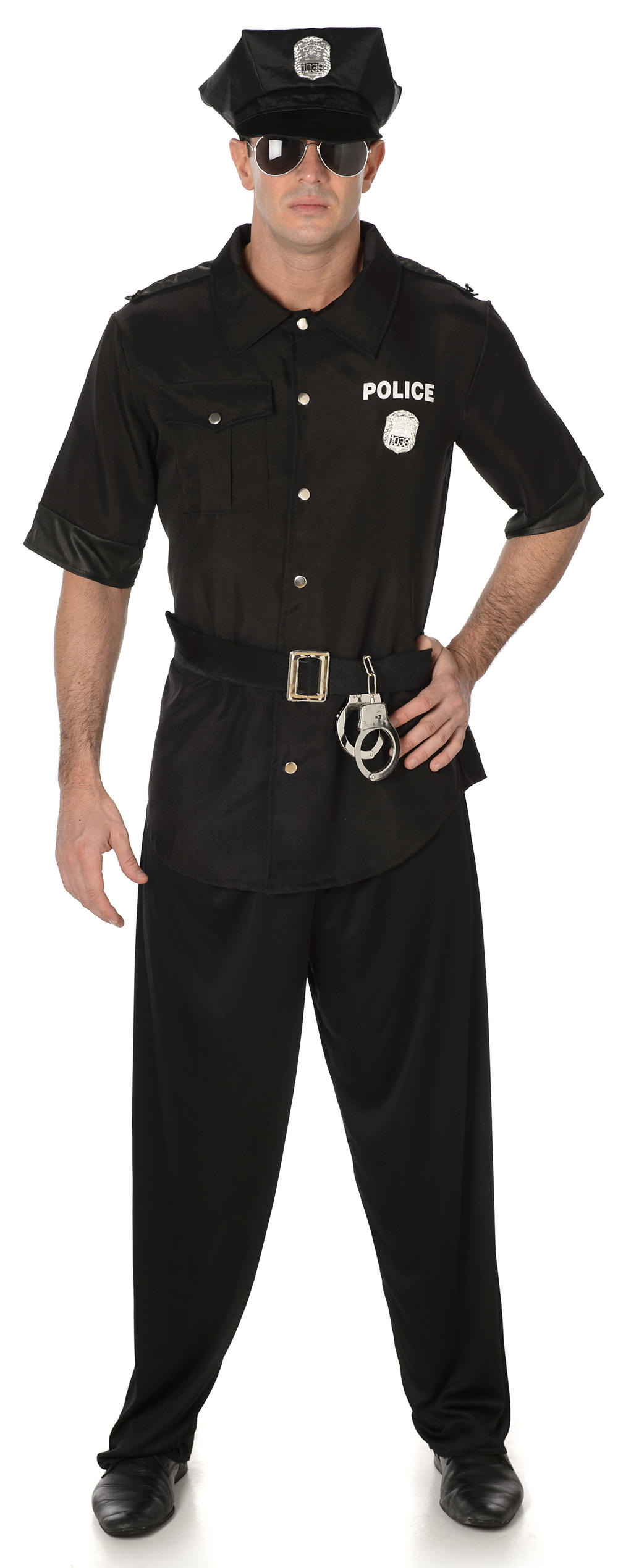 American Cop Mens Fancy Dress US Police Officer Uniform Adults Costume Outfit