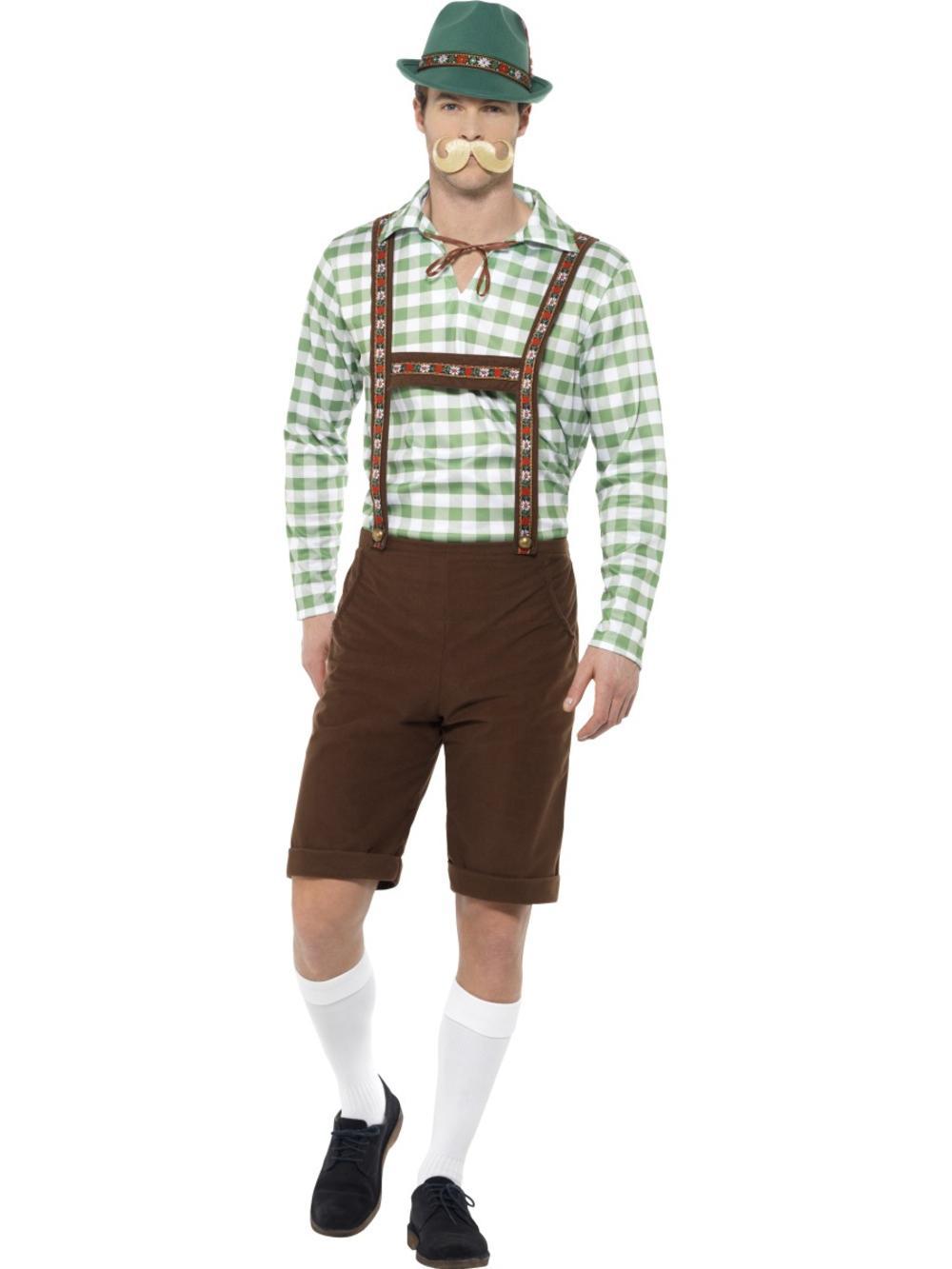Alpine Bavarian Mens Fancy Dress Oktoberfest German Lederhosen Adults Costume
