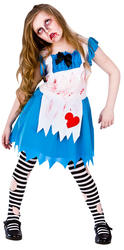 Alice Zombie Girls Age Fancy Dress Wonderland Horror Kids Childs Costume Outfit