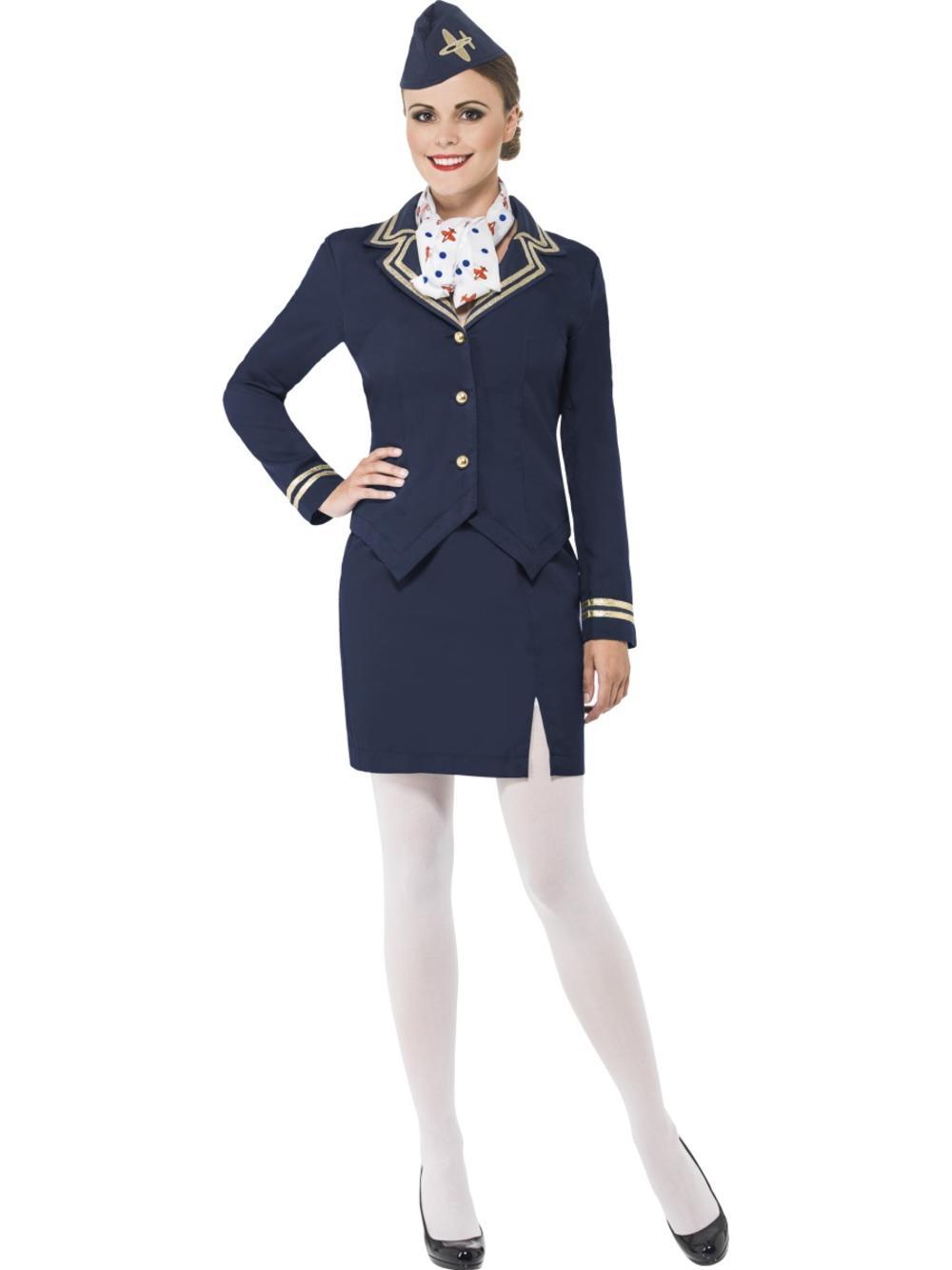 Airways Flight Attendant + Hat Ladies Fancy Dress Hostess Uniform Womens Costume