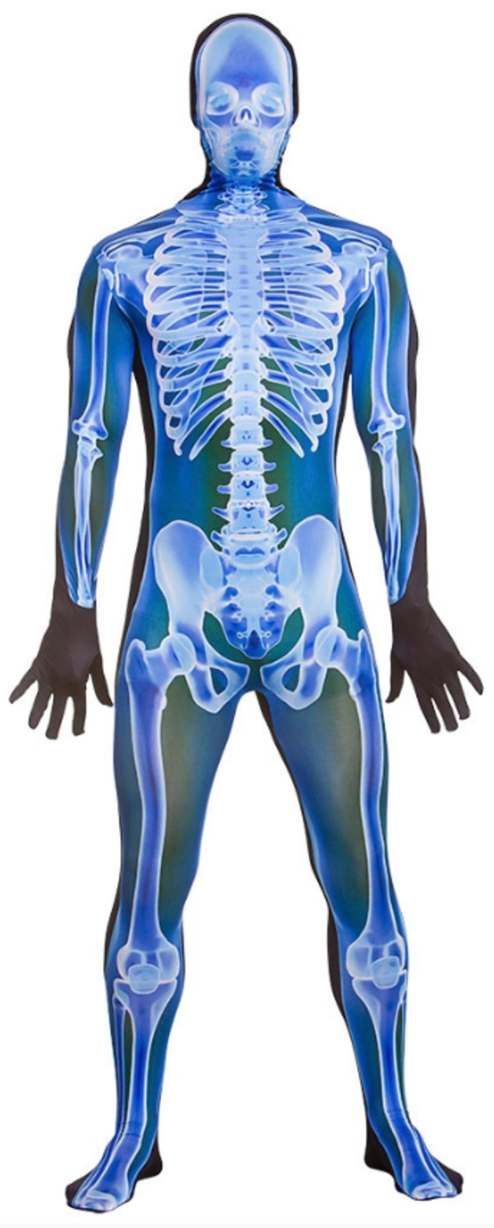 X-Ray Skinz Mens Skeleton Fancy Dress Skull Bodysuit Adults Halloween Costume