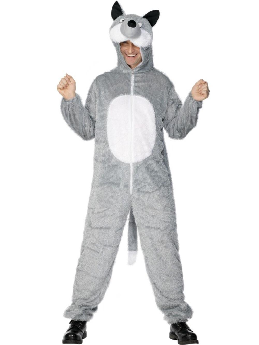Wolf Jumpsuit Adults Fancy Dress Halloween Animal Mens Ladies Book Day Costume