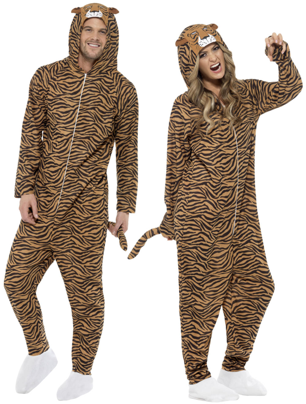 Jungle Tiger Adults Fancy Dress Zoo Animal Book Week Mens Ladies Costume Outfit