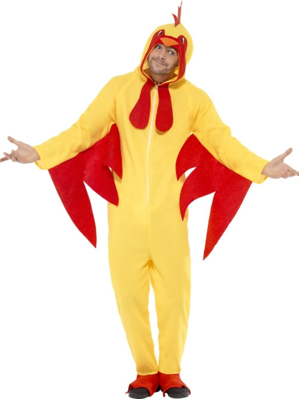 Chicken Jumpsuit Adults Fancy Dress Farm Bird Animal Mens Ladies Costume Outfit