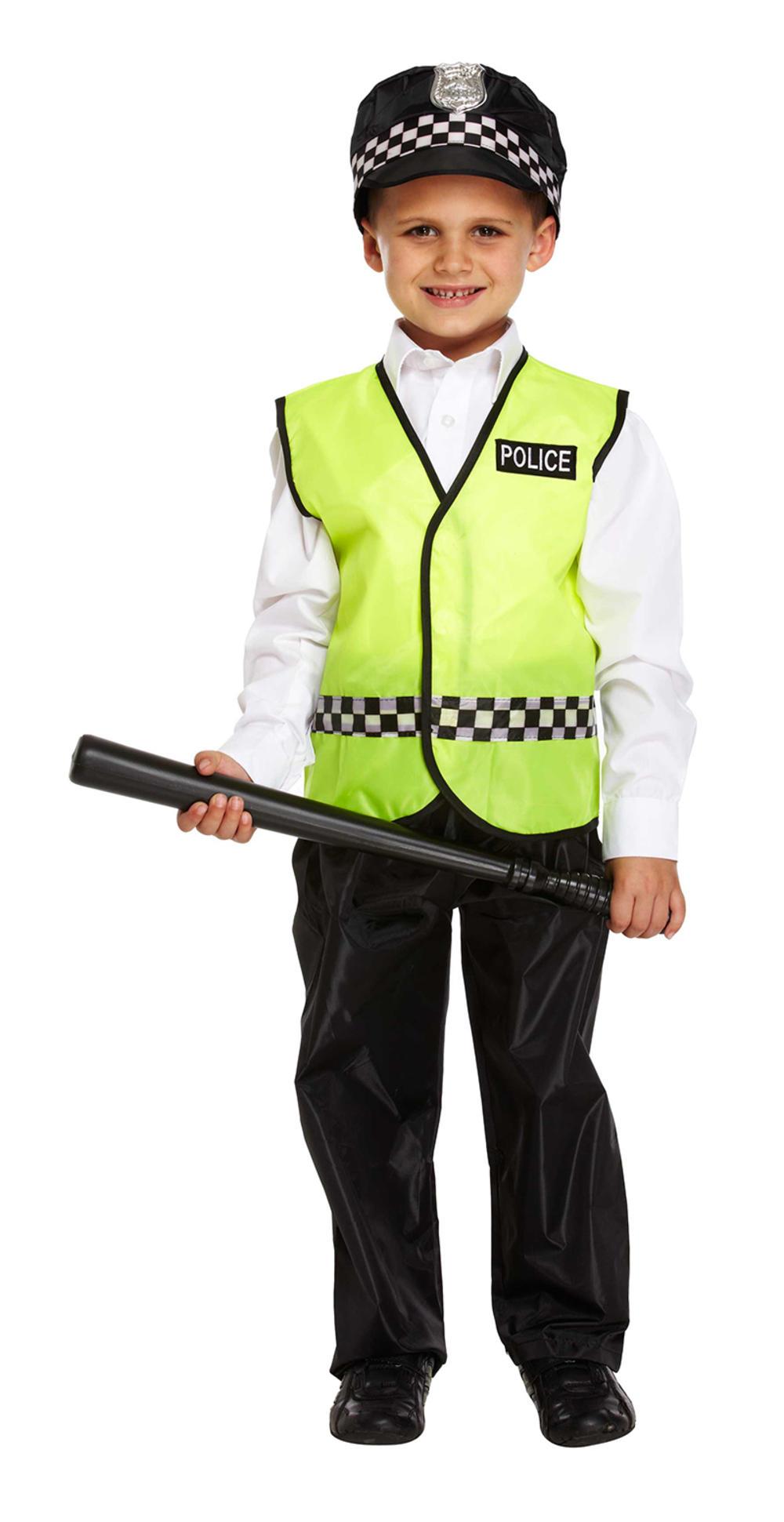 Policeman Boys Fancy Dress Childrens Kids Police Man Cop Uniform Costume + Hat