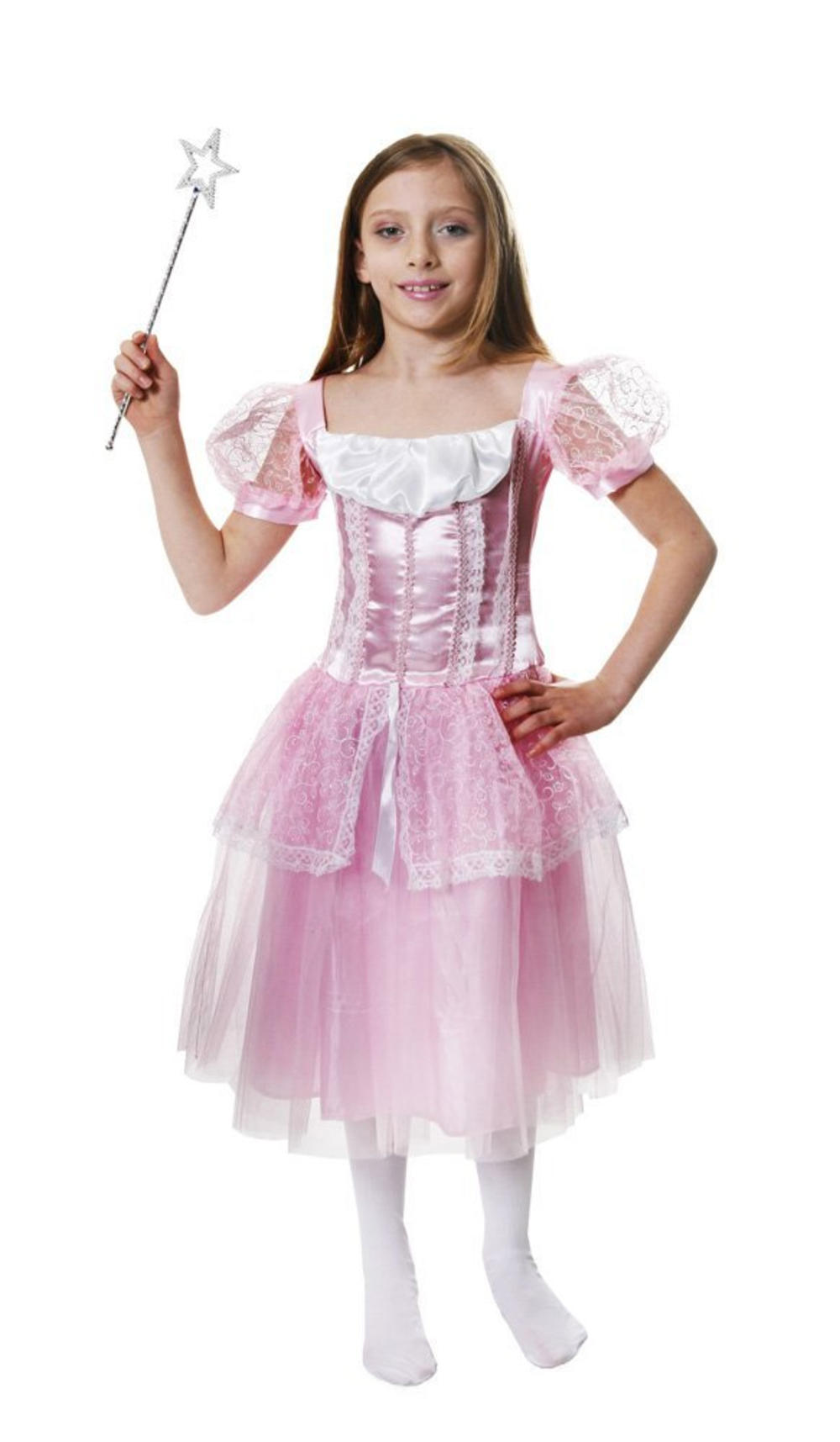 Pretty Pink Princess Dress Girls Fancy Dress Fairy Tale Book Day Kids Costume