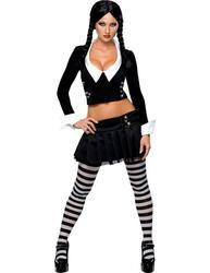 Sexy Wednesday Addams Ladies Fancy Dress Adams Family Adults Halloween Costume