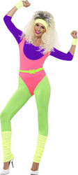 80's Work Out Ladies Fancy Dress Physical Sports Neon Womens Adults Costume New