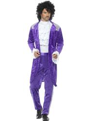80's Purple Musician Mens Fancy Dress Pop Icon Celebrity Prince Adults Costume