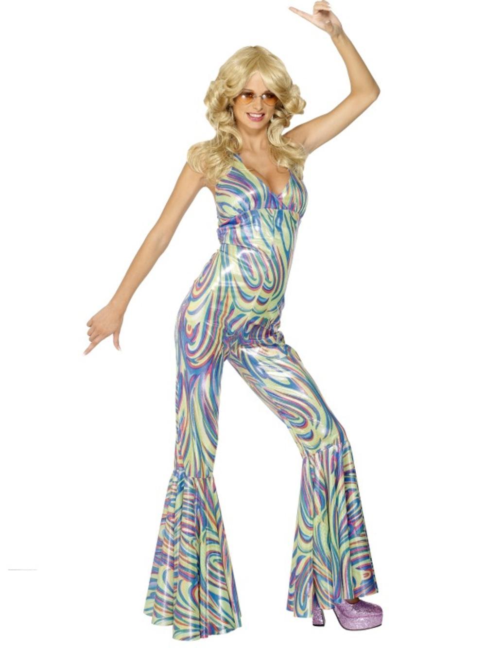 Dancing Queen Ladies Fancy Dress 1960s 70s Retro Celebrity Womens Costume Outfit