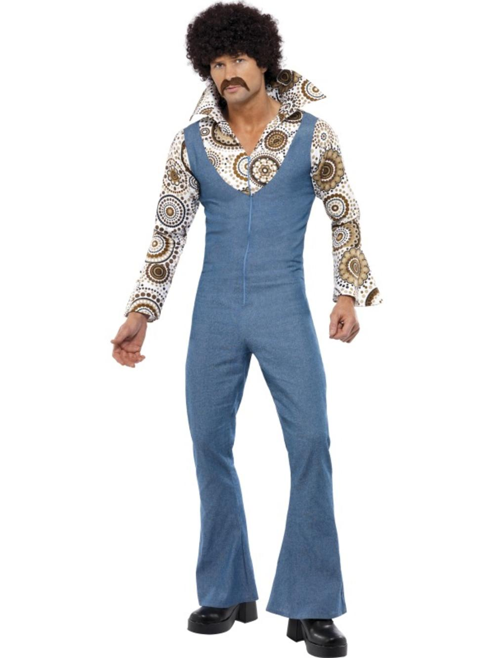 70s Groovy Disco Dancer Mens Fancy Dress 1970s Retro Jumpsuit Adults Costume
