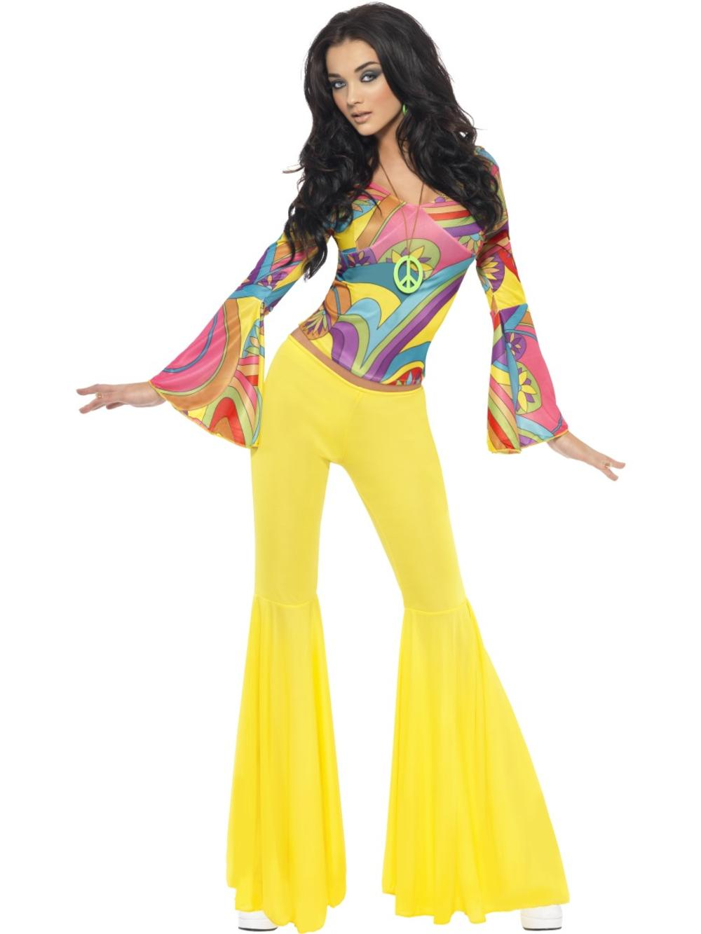 70s Groovy Babe Ladies Fancy Dress Funky Disco Diva Womens Adults Costume Outfit